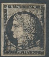 Lot N°51672  N°3 Noir/blanc, Oblit Grille De 1849, Belles Marges - 1849-1850 Cérès