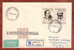 FDC, Einschreiben Reco, Engels Marx, Zagreb Nach Jena 1964 (88408) - FDC