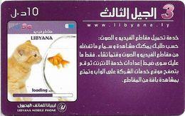 Libya - Libyana - Cat & Fish, 10LD Prepaid Card, Used - Libia