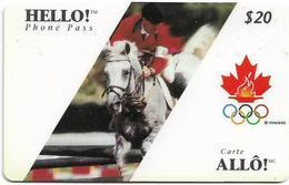 Canada - Hello! - Olympic Games, Equestrianism, Remote Mem. 20$, 02.1996, Used - Canada