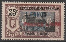 INDE FRANCAISE N° 130a FRANCE LIBRE Surcharge Horizontale Signé SCHELLER Charnière Légère - Ungebraucht