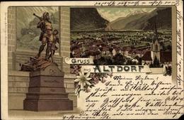 Lithographie Altdorf Kt. Uri Schweiz, Wilhelm Tell Denkmal, Totalansicht - UR Uri