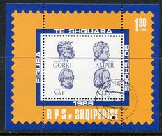 ALBANIA 1986 Cultural Personalities Block   Used.  Michel Block 87 - Albanie