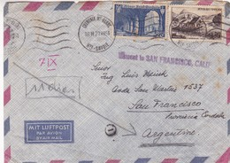 FRANCE - WRONG CIRCULATION ENVELOPE. MISSENT TO SAN FRANCISCO, CALIFORNIA, NOT SEND TO SAN FRANCISCO, CORDOBA -LILHU - Curiosities: 1950-59 Covers & Documents