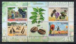 SAO TOME E PRINCIPE - 2008 - B/F - M/S - AGRICULTURE - VIN - APICULTURE - CEREALES - CAFE - FLEURS - MOULIN - - São Tomé Und Príncipe