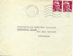 Paris Vers Allemagne Sur Lettre 1954 Timbres Surchargés - 1945-54 Marianne Of Gandon