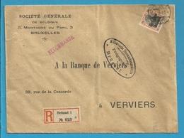 BZ 19 Op Brief Aangetekend Stempel BRUSSEL, Stempel FREIGEGEBEN + Verso INHALT GEPRUFT GENERALKOMMISSAR - [OC1/25] Gouv. Gén.