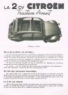 Notice Publicitaire Sur La 2 CV Citroën Traction Avant - Caractéristiques Mécaniques - Cotes - Avril 1952 - Advertising