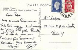 Joigny (Yonne) Vers Paris Sur Carte Postal 1946 - 1944-45 Maríanne De Dulac