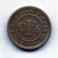 COLOMBIA, 1 1/4 Centavo, 1874, Copper-Nickel, KM #173 - Colombia