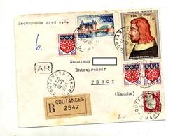 Lettre Recommandée Coutances Sur Sully Le Bon  Decaris - Poststempel (Briefe)