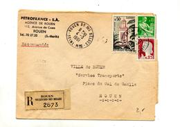 Lettre Recommandée Rouen  Sur Decaris Tlemcen Moisson - Poststempel (Briefe)