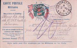 France Guerre 14-18, Carte Postale Militaire Taxée En Suisse, Trésor Et Poste 510 Salonique - Coppet Suisse (3.12.16) - Marcophilie (Lettres)