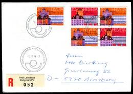 07764) Schweiz - 2x Mi 1027 / 1028 - R-Brief - SoSt OO 1000 Lausanne Vom 01.07.1974 - XVII. UPU Kongress - Poststempel