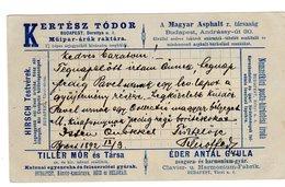Budapest - Intero Postale Pubblicitario Viaggiato 1892 - Eder Antal Gyula Casa Costruttrice Piano Harmonium Clavier - Music