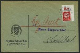 DIENSTMARKEN D 138aP BRIEF, 1934, 12 Pf. Schwarzrosa, Mit Wz., Plattendruck, Aus Der Rechten Oberen Bogenecke, Nicht Dur - Service