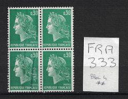 France - Yvert 1611, Défaut D'essuyage En Bloc De 4 - Scott#1231C Printing Variety - Errors & Oddities