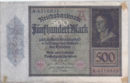 AK-23482 - 5o0  Reichsmark  - A 43116935 Vom 27. März 1922 - [ 3] 1918-1933 : República De Weimar