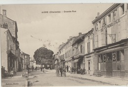 Aigre  16   La Grande Rue Tres Tres Animée-Café Du Commerce-Coiffeur-Epicerie - Francia