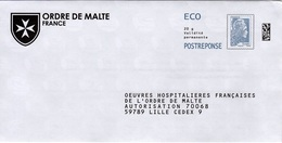 Pret A Poster Reponse ECO (PAP) Ordre De Malte Agr. 225920 (Marianne Yseult-Catelin) - Entiers Postaux