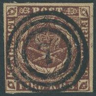 DÄNEMARK 1IIa O, 1852, 4 RBS Rotbraun Mit Idealem Zentrischen Nummernstempel 7 (ASSENS), Pracht - Danemark