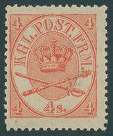 DÄNEMARK 13aA *, 1865, 4 S. Rot, Erstfalzrest, Kabinett - Danemark