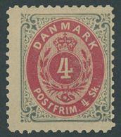 DÄNEMARK 18IB *, 1870, 4 S. Grau/rot, Gezähnt L 121/2, Falzreste, Pracht, Mi. 200.- - Danemark