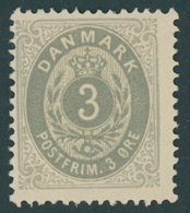 DÄNEMARK 22IYAa *, 1875, 3 Ø Mattultramarin/grau, Falzrest, Pracht, Mi. 140.- - Danemark
