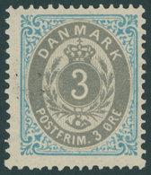 DÄNEMARK 22IIYAb **, 1875, 3 Ø Hellblau/grau, Normaler Rahmen, Wz. 1Y, Gezähnt K 14:131/2, Postfrisch, Pracht - Danemark