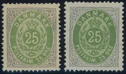 DÄNEMARK 29IYA *, 1875, 25 Ø, Normaler Rahmen, Wz 1Y, Gezähnt K 14:131/2, 2 Verschiedene Auflagen, Falzrest, 2 Prachtwer - Danemark