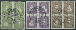 DÄNEMARK 131-42 VB O, 1924, 300 Jahre Dänische Post, 3 Viererblocks, Prachtsatz, Mi. 110.- - Danemark