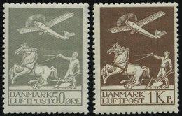 DÄNEMARK 180/1 *, 1929, 50 Ø Und 1 Kr. Flugpost, Falzrest, Pracht - Danemark