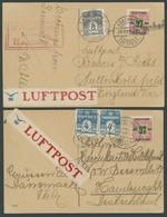 DÄNEMARK 1924, 2 Verschiedene Luftpost-Ansichtskarten Nach England Und Hamburg Mit DDL-Luftpostaufklebern, Fast Nur Prac - Danemark