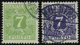 PORTOMARKEN P 12,21 O, 1927/30, 7 ø Gelbgrün Und Bläulichviolett, 2 Prachtwerte, Mi. 64.- - Danemark