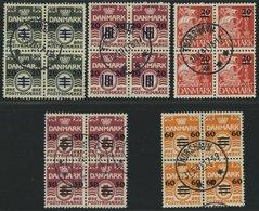 FÄRÖER 2-6 VB O, 1940/1, Britische Besetzung In Zentrisch Gestempelten Viererblocks, Prachtsatz, Fotoattest L. Nielsen - Danemark