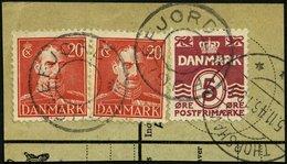 FÄRÖER-STERNSTEMPEL DK 244,271 BrfStk, FUGLEFJORD (ohne Stern) Auf 5 Ø Und 2x 20 Ø, Prachtbriefstück - Danemark