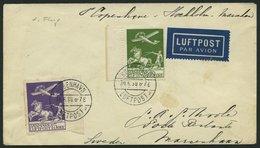 ERSTFLÜGE 30.6.1930, Kopenhagen-Stockholm-Mariehamn, Frankiert Mit Mi.Nr. 143/4, Prachtbrief - Danemark