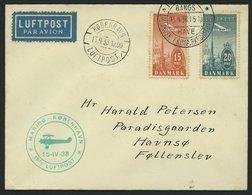 ERSTFLÜGE 15.4.1938, Maribo-Kopenhagen, Prachtbrief - Danemark