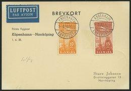 ERSTFLÜGE 1.6.1938, Kopenhagen-Norrköping-Stockholm, Prachtkarte - Danemark