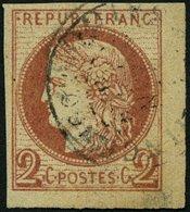 F.KOL ALLGEMEINE AUSGABEN 15 O, 1876, 2 C. Rotbraun, Feinst (punkthelle Stelle), Mi. 900.- - France (former Colonies & Protectorates)
