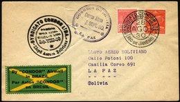 BRASILIEN 28.8.1930, Condor-Erstflug RIO DE JANEIRO-LA PAZ, Starke Vorderseitige Beförderungsschäden, Müller 81 - Luchtpost