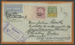 BRASILIEN 1935, Condor Lufthansa Flugpost Mit Reco-Stempel BLUMENAU Nach Ziegelhausen/Necker, Zeppelinmarke Nicht Entwer - Luchtpost