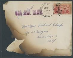 HAWAII 1959, Rückseitiger Aufkleber CHICAGO POST OFFICE ENCLOSURE RECOVERED FROM PLANE WRECK 11-24-59 Auf Angebräuntem T - Hawaii