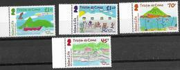 TRISTAN DA CUNHA, 2019, MNH, CHILDREN'S DRAWINGS, THE WORLD THROUGH THEIR EYES, BOATS, SHIPS, FISH, BIRDS, VOLCANOES, 4v - Childhood & Youth