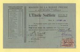 Timbre Fiscal - L'Etoile Noeliste - Maison De La Bonne Presse - Paris - 1924 - Fiscaux