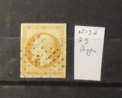 12 - 19 //  France N° 13A  Oblitération 9 - Agen - Marcophilie (Timbres Détachés)