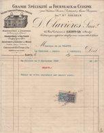 Timbre Fiscal - Fourneaux De Cuisine - Saint Lo Manche - 1922 - Facture Illustree - Fiscaux