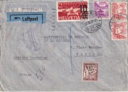 SUISSE - Lettre Taxée Pour Paris Du 12/3/37 - Luftpost