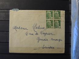 12 - 19 //  France - Lettre De Paris  à Destination De Genève- Carouge - Suisse - Gandon Bloc De 4 - Marcophilie (Lettres)