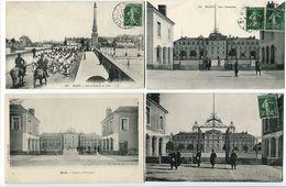 """LOT 4 CP * BLOIS Sur Le Pont De La Loire """" Défilé Militaire """" / Les Casernes / Caserne D'Infanterie / Maurice De Saxe - Blois"""